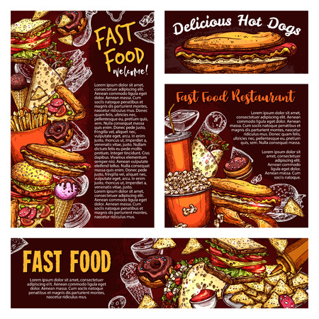 Fastfood menu banners, vector sketch. Street food and soda, burger and Italian pizza, french fries and popcorn, hot dog and burrito. Mexican taco and ice cream, donut and nachos, sandwich Foto de archivo - 112262486
