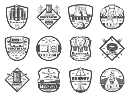 Electrical service retro icons, energetics industry. Light bulb, cable and wrench, nuclear power plant and electro car, socket and light switch. Power plant and devices, monochrome symbols