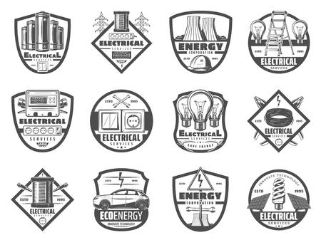 Icônes rétro de service électrique, industrie énergétique. Ampoule, câble et clé, centrale nucléaire et voiture électrique, prise et interrupteur. Centrale électrique et appareils, symboles monochromes