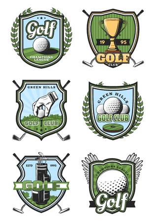 Golf sport heraldic icons and symbols with crossed sticks and ball, gold trophy cup and white glove. Royal game and sport items, professional supreme league signs, tournament or competition symbols Ilustração