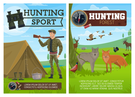 Huntsman, birds and animals, hunting sport. Fox and wolf, duck and grouse, blackcock and badger, elk and deer, wood grouse and badger, sable and marten. Hunter with rifle, binocular and bandolier Ilustração