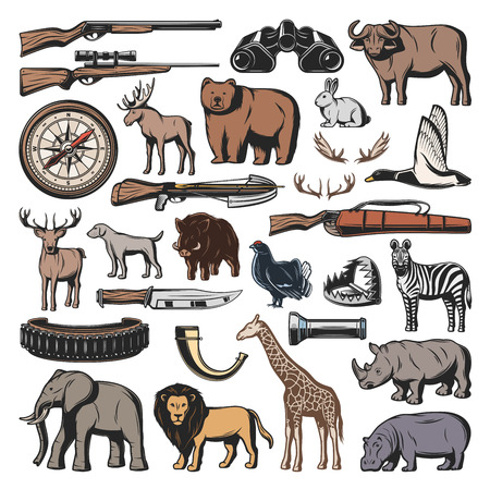 Hunting sport ammunition, vector wild animals and birds. Gun or rifle and knife, crossbow and trap. Bull and giraffe, elk and bear, rabbit and duck, deer and boar, zebra and lion, hippo and elephant
