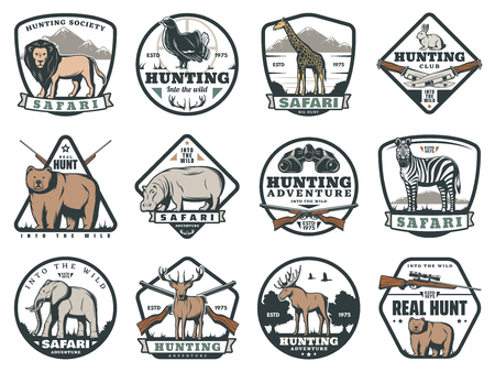 Safari adventure and hunting sport icons, animals and ammunition. Lion and blackcock, giraffe and hare, bear and rhino, zebra and elephant, deer and moose. Cartridge belt and crossbow, rifle and knife Imagens - 112262492