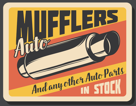 Car repair service, mufflers spare parts. Auto restoration and replacement, vehicles work at garage station. Vintage vector billboard with metal internal muffler spare part Illustration