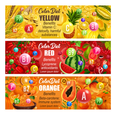Yellow, red and orange days, color diet. Vector pear, pineapple, applee and watermelon, peach and mango, wheat and papaya. Healthy food fruits, vegetables and vitamins B, C, D and minerals banners