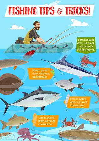 Pêcheur en bateau pneumatique, trucs et astuces pour le sport de pêche. Vector thon et poisson-chat, saumon et perche, truite et hareng, plie et crabe, crevettes et écrevisses. Pêcheur et animaux sous-marins Vecteurs