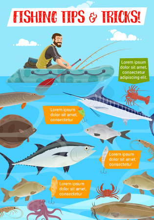 Fisherman in inflatable boat, fishing sport tips and tricks. Vector tuna and catfish, salmon and perch, trout and herring, flounder and crab, prawn and crayfish. Fisher and underwater animals