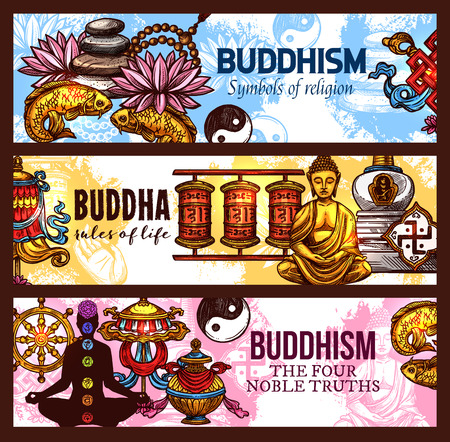 Religious symbols of Buddhism religion, vector sketch Pebble and lotus, gold fishes and yin yang, dharma wheel, endless knot and prayer wheels, Buddha statue and chakra. Spiritual rules of life
