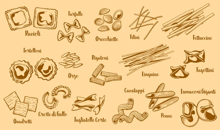 Popular italian pasta types. Vector ravioli and farfalle, orecchiette and filini, fettuccine and tortelloni, orzo and rigatoni, linguine and fagottini. Quadrelli and creste di gallo, cavatappi and penne sketch