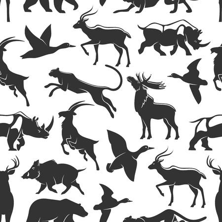 Animales para la caza de patrones sin fisuras vector siluetas oscuras. Pato y ciervo, rinoceronte y ganso, puma y jabalí, oso y cabra, alce. Mamíferos salvajes y aves de la sabana y el bosque.