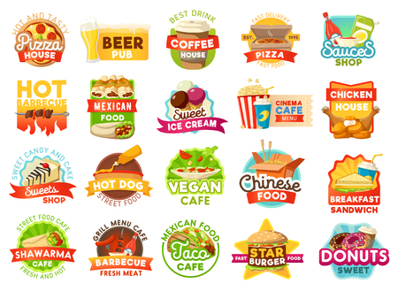 Fast food vector icons and signs. Pizza house and beer pub, coffee and sauce shop, barbecue and mexican cuisine, ice cream and cinema cafe, chicken and sweets, hot dog and Chinese noodle Illusztráció