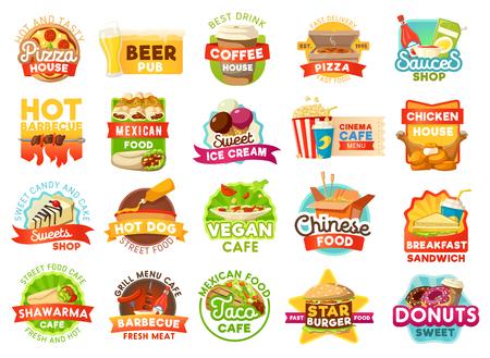 Signos e iconos de vector de comida rápida. Pizzería y cervecería, tienda de café y salsas, parrillada y cocina mexicana, heladería y cine café, pollo y dulces, perritos calientes y fideos chinos
