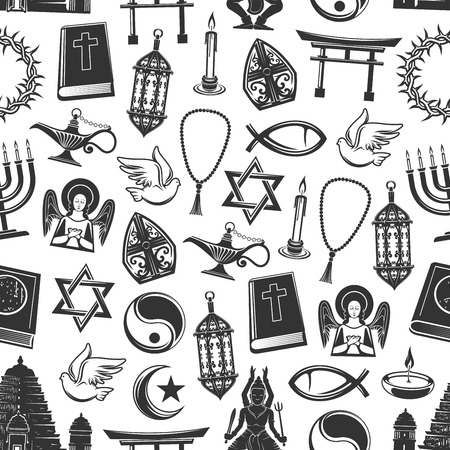 World religion symbols vector seamless pattern. Christianity and Judaism, Islam and Buddhism. Bible and angel, rosary and dove, lantern and crescent, David star and Crown of thorns, yin yang