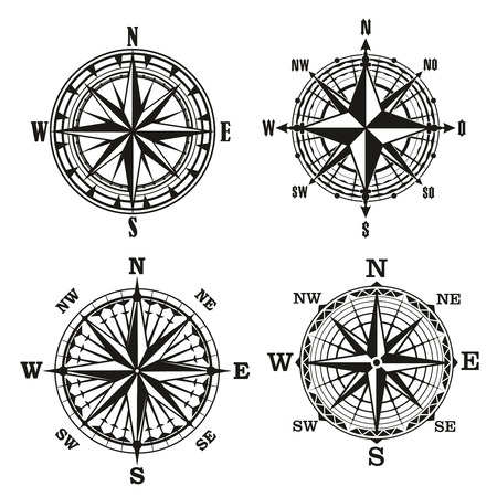 Antique compasses with ornate dials or rose of wind. Topography retro nautical marine signs with longitude and latitude. Navigation and orientation vector signs with star in middle