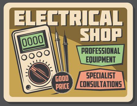 Cartel de vector retro tienda eléctrica, dispositivo voltímetro de medición de voltaje. Tienda de electricidad y cableado, herramientas y electrodomésticos eléctricos, equipo profesional y consulta especializada.
