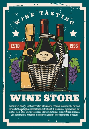 Wine store, winery industry, champagne or sparkling wine. Vector alcohol drink, grape berries nectar, tasting and buying, wicker basket. Grocery store, natural beverage in glass bottle with cork Illustration