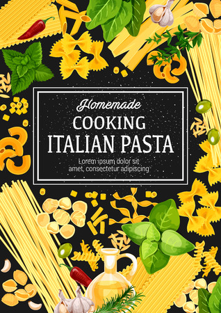 Italian pasta with herbs, vector. Cuisine from Italy, traditional food. Spaghetti, macaroni and penne, cannelloni, ravioli and fusilli. Farfalle and conchiglie, lasagna and orzo with basil and pepper