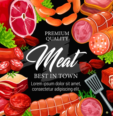Meat products poster for butchery shop or restaurant. Beef and pork sausage, ham and salami, bacon and frankfurter, cutlet for burgers. Salad leaves or lettuce with arugula and cooking spatula vector Illustration