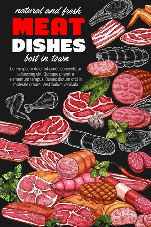 Meat dishes sketch, restaurant or grocery store. Vector meat beef steak or cutlet for burger, pork and bacon, tenderloin and lamb. Sausages and veal, chicken wing and greenery herbs 向量圖像