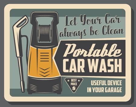 Dispositivo de lavado de coches portátil para limpiar el vehículo en el garaje. Mecanismo con potente presión de agua para lavado de automóviles, folleto de vector vintage. Servicio de limpieza y mantenimiento de transporte