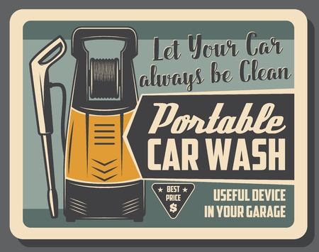 Portable car wash device to clean vehicle at garage. Mechanism with powerful water pressure for automobile washing, vintage vector leaflet. Transport maintenance and cleaning service Vectores