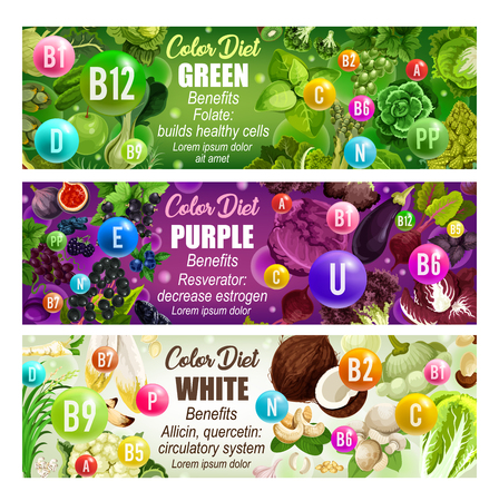 Green, purple and white color diet ingredients. Vitamins banners with fruits, vegetables and minerals. Health and immunity, vector cabbage and eggplant, coconut and grape, salad and cauliflower Ilustração