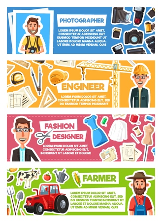 Farmer, photographer or engineer and fashion designer professions. Vector cartoon peoples and work items as photo camera, construction tools, tailoring scissors, sewing machine and farming agriculture Illustration