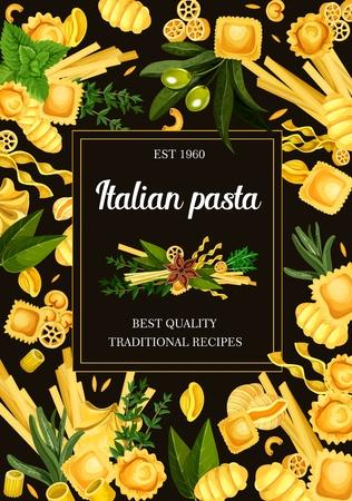 Italian pasta menu, seasonings and spice. Vector ravioli and gnocchi, tortellini, rotelle and risoni, rigatoni and conchiglie. Linguini and ditalini, orecchiette and tortelloni, maccheroni with herbs