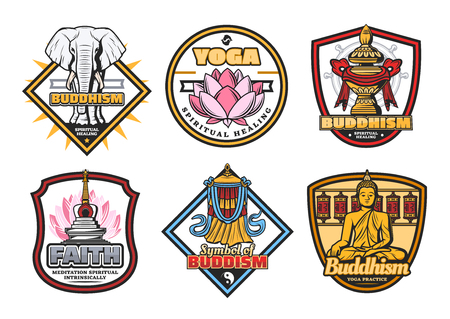 Buddhism religious symbols, Buddha meditation and yoga healing. Vector icons of Buddhist mudra sign, lotus or sacred white elephant, stupa shrine with bumpa vase and victory banner. Religion theme