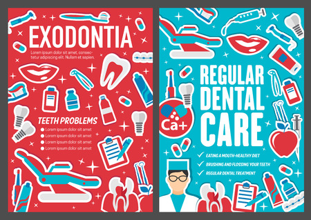 Dental clinic posters and dentistry medicine brochure of exodontia or orthodontic care. Vector design of dentist doctor with tooth implants and braces, toothbrush or toothpaste and white smile teeth 일러스트