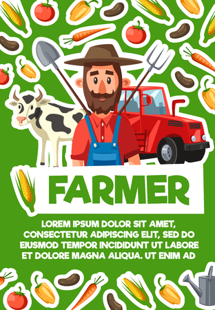 Farmer, agriculture and cattle farm household. Vector cartoon farmer with planting spade and gardening rake tools, tomato and potato veggies, cow and tractor