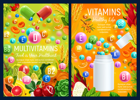 Vitamins and multivitamin supplement complex capsules and pills. Vector vitamins in fruits, vegetables and salads, nuts and berries food. Health care, healthy nutrition and dietetics design Illustration