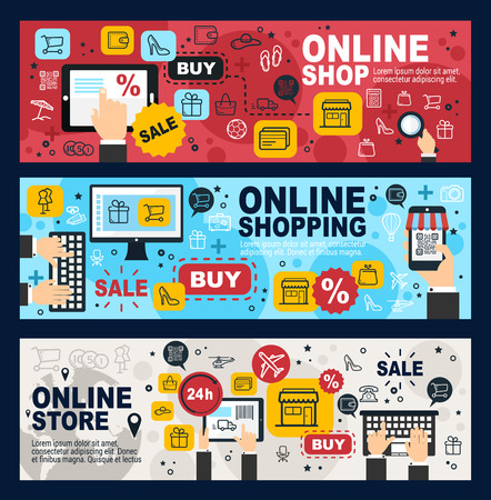 Online shop, internet shopping commerce and web trade banners. Vector mobile retail store sale order and purchase by credit card, in laptop or mobile phone, delivery shipping Ilustracja
