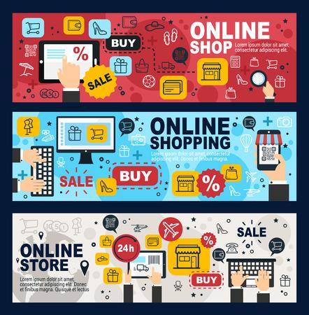 Online winkel, internetwinkelen en webhandelsbanners. Vector mobiele winkel verkooporder en aankoop met creditcard, in laptop of mobiele telefoon, levering verzending