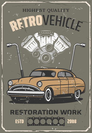 Retro car service station, vintage vehicle mechanic garage and restoration works. Vector retro car, wheel wrench and engine, transport diagnostics and chassis tuning or spare parts shop Archivio Fotografico - 127635257