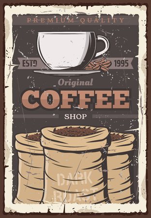 Coffee retro vector poster, roast coffee beans in bags and cup of hot espresso, cappuccino or americano drink. Cafeteria, cafe or coffeeshop and coffeehouse vintage retro design