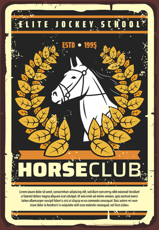 Horse club and jockey school retro poster, vintage vector design. Vector equine races championship stallion in victory golden laurel wreath on grunge old background