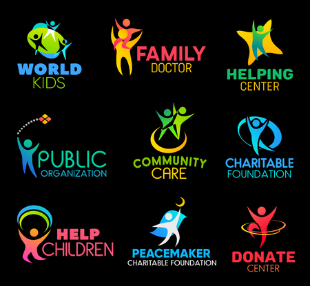 Charity and social support organization icons. Family health doctor and children helping center, community, public support charitable foundation or donation center vector symbols