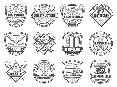 Reparatur und Heimwerken, Vektorarbeitswerkzeuge und Zimmermanns- oder Ingenieurdienstsymbole. Vektor-Arbeiterschutzhelm und Feile, Zangen und Bohrer, Schraubenschlüssel und Hammer, Pinsel und Holzsäge, Schleifer Vektorgrafik