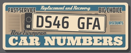 Car auto service, vehicle license number plate replacement or recovery. Vector vintage poster design of abstract european car number, automotive repair station or shop signboard Stockfoto - 112262557