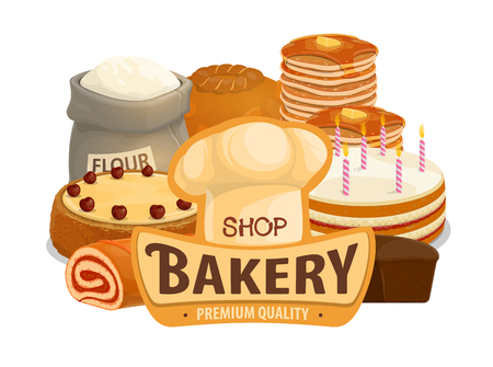 Bakery shop bread, patisserie pastry and desserts. Vector baker hat with wheat flour bag, donut or muffin and croissant with buns, pancakes or bagel and toast bread  イラスト・ベクター素材