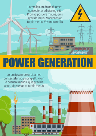 Power generation and electricity energy production. Vector power plant, windmills and natural gas energy resources, solar panels and hydroelectric stations