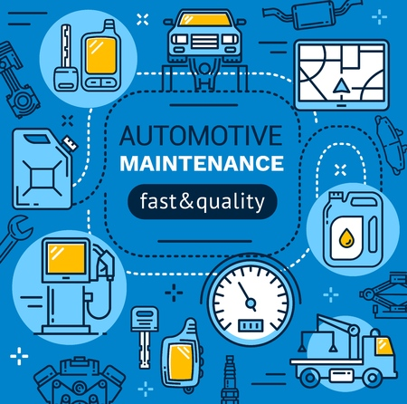 Vehicle service and maintenance, car repair garage station. Vector linear design of mechanic diagnostics, tow truck and navigator, vehicle engine oil, exhaust and brakes Illustration