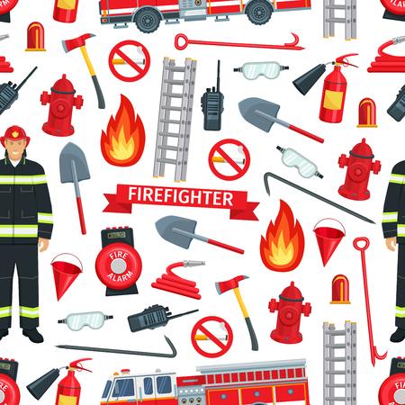 Hintergrund für die Brandbekämpfung. Vektornahtloses Design von Feuerwehrmann und Feuerlöschausrüstung, Löschmotor mit Sicherheitsleiter, Spaten oder Axt und Wasserhydrant und Rauchverbot Vektorgrafik