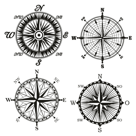 Compass wind rose monochrome icon with north and south direction arrows. Vector retro vintage symbol of maritime nautical navigation compass, marine seafarer navigator