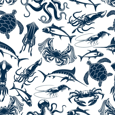 Fishing fish, underwater sea animals and seafood pattern background. Vector seamless design of tuna, marlin and squid, octopus and sea turtle, lobster crab or shrimp prawn