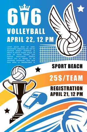 Volleyball sport game vector poster. Beach volley tournament registration leaflet or flyer, design of volleyball ball with wings and net, champion cup and referee whistle