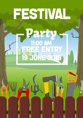 Gardening season festival fair and farmer or gardener party invitation . Vector wooden farm fence background and planting tools spade and rake, hoe and pruners, shovel and saw  イラスト・ベクター素材