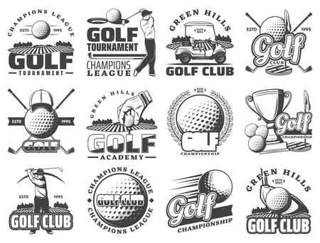 Icone e distintivi di sport del club di golf. Simboli vettoriali di giocatori di golf, attrezzature e oggetti di gioco, percorso a tee con premio coppa, carrello da golf e nastro di alloro vittoria Vettoriali