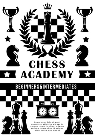 Chess academy or training school poster. Vector chess tournament and championship game design of horse and pawn, rook and king crown on chessboard and score clock Illusztráció